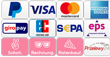 PayPal, Kreditkarte, Giropay, S€PA, Sofortüberweisung, Ratenkauf, Kauf auf Rechnung, eps, Przelewy24,...